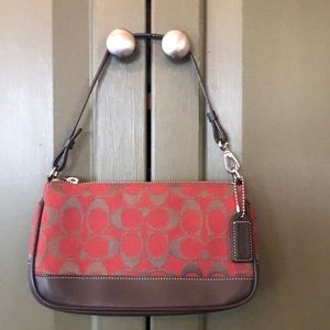 Coach Bag Red and Brown Fabric Clutch